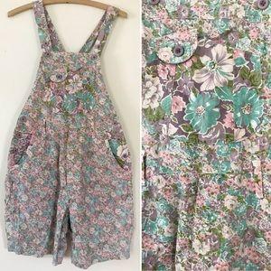 Vintage pastel floral 80's overalls shorts romper